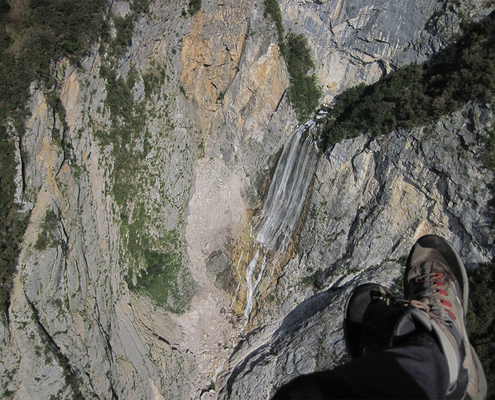 Paragliding above Boka Waterfall Bovec Slovenia
