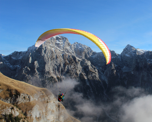 Paragliding from Mangart. Photo: Petra Repič